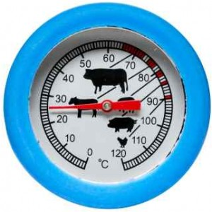 bbq round thermometer, turquoise