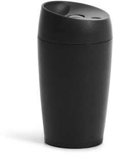 car mug with lock button, matt black 24cl