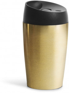 car mug with lock button, gold 24cl